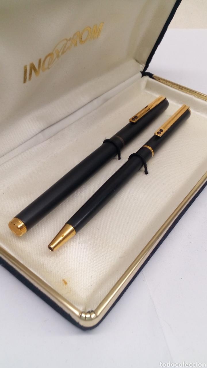 Estilográficas antiguas, bolígrafos y plumas: Juego bolígrafo y pluma Inoxcrom lacado negro - Foto 3 - 178230293