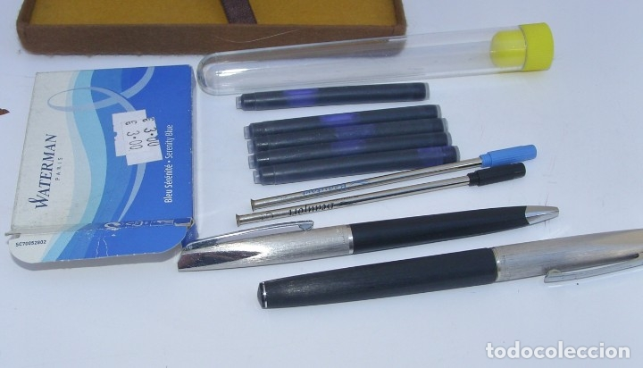 Estilográficas antiguas, bolígrafos y plumas: WATERMAN - Conjunto Bolígrafo y Pluma con plumín original de oro 18kt + recambios - Foto 5 - 180124763