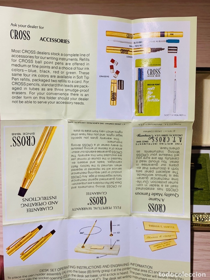 Estilográficas antiguas, bolígrafos y plumas: Set Ballpoint & Pencil CROSS GOLD Filled 10Kt. Classic Century, 4501. USA. Box, papers. '70s. - Foto 23 - 181542681