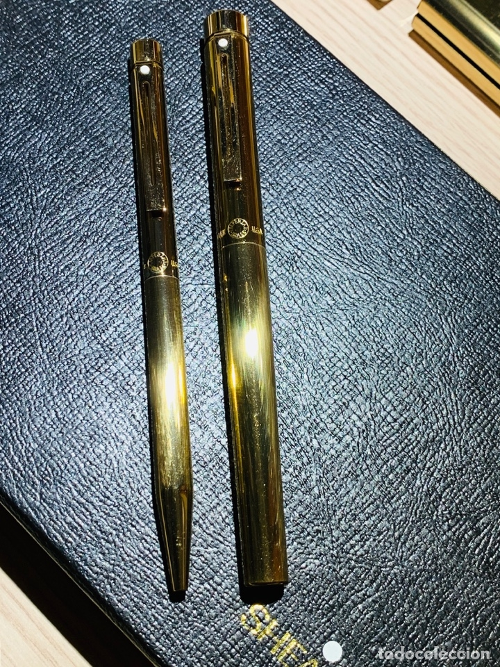Estilográficas antiguas, bolígrafos y plumas: SHEAFFER TARGA 1020 IMPERIAL Full SET. Fountain pen Gold nib, ballpoint. USA. Luxe box. '80s. Mint. - Foto 9 - 181802110