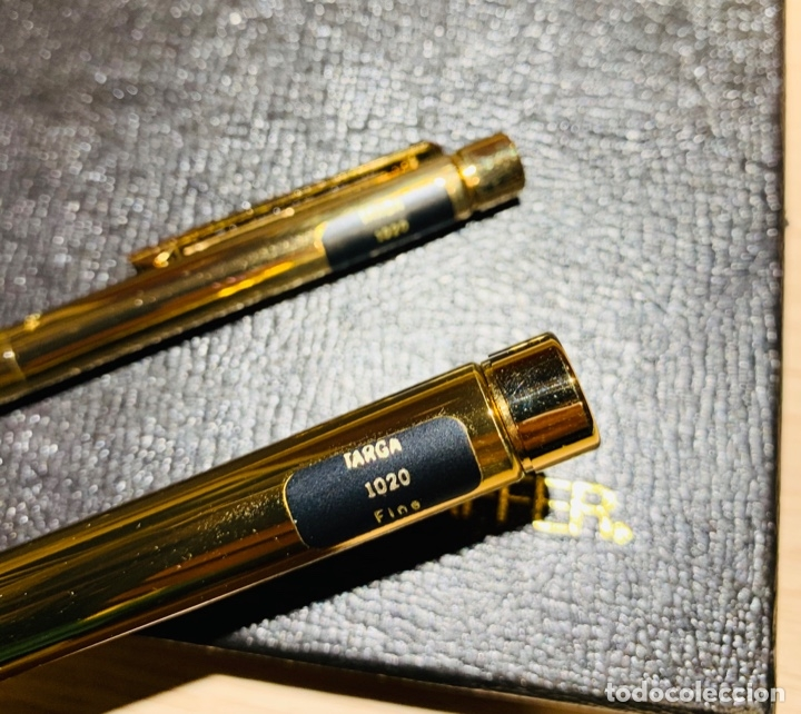 Estilográficas antiguas, bolígrafos y plumas: SHEAFFER TARGA 1020 IMPERIAL Full SET. Fountain pen Gold nib, ballpoint. USA. Luxe box. '80s. Mint. - Foto 19 - 181802110