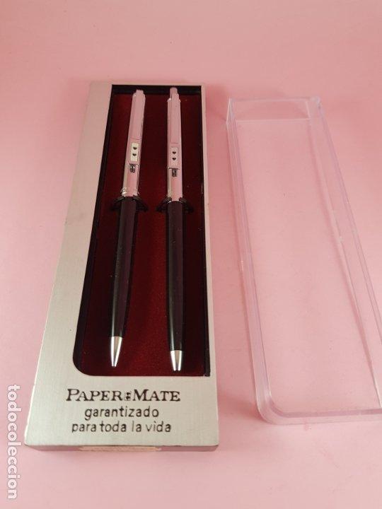 Estilográficas antiguas, bolígrafos y plumas: *(5985)-juego-bolígrafo+portaminas-paper mate profile-negro+cromo-nos-cajas-ver fotos- - Foto 2 - 84883456