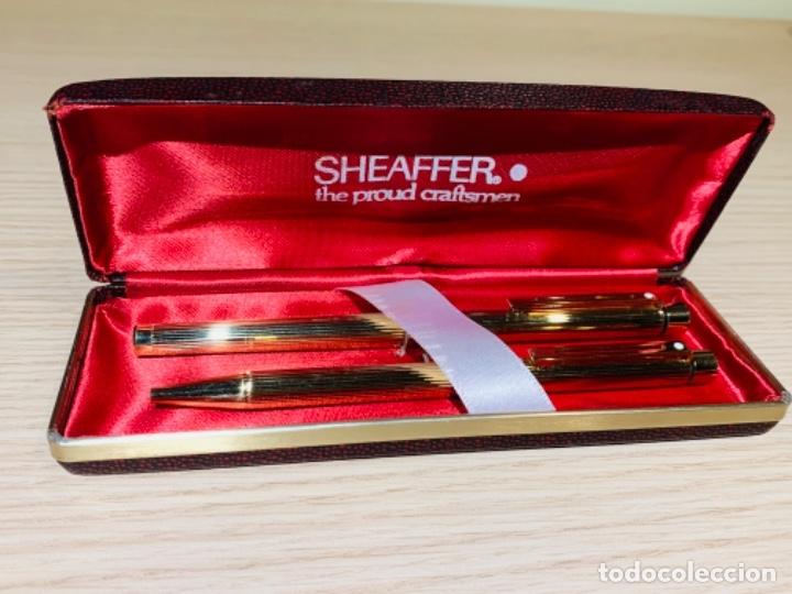 SET SHEAFFER TARGA 1005S 23K GOLD PLATED. FOUNTAIN PEN & BALLPOINT. DELUXE BOX. EARLY '80S. (Plumas Estilográficas, Bolígrafos y Plumillas - Juegos y Conjuntos)