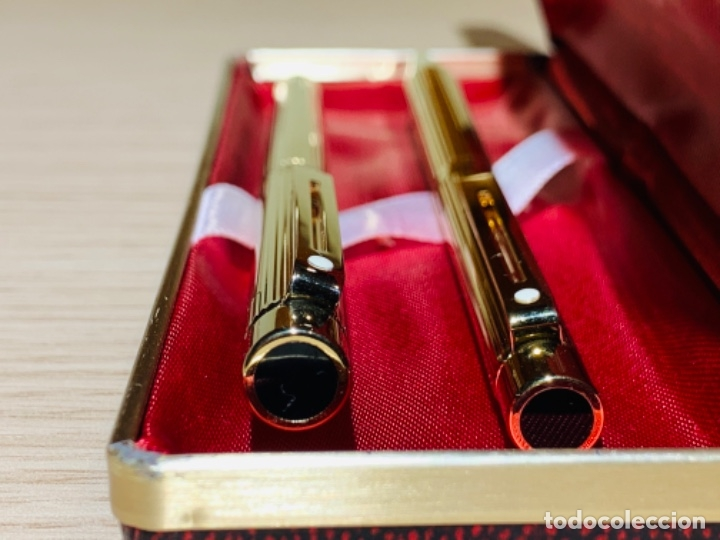 Estilográficas antiguas, bolígrafos y plumas: Set SHEAFFER TARGA 1005s 23k Gold Plated. Fountain Pen & BallPoint. Deluxe box. Early '80s. - Foto 2 - 182051680