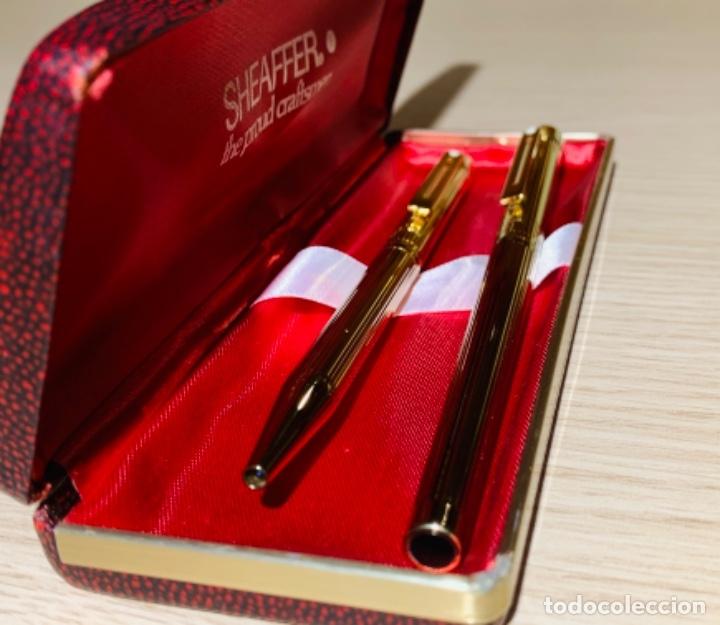 Estilográficas antiguas, bolígrafos y plumas: Set SHEAFFER TARGA 1005s 23k Gold Plated. Fountain Pen & BallPoint. Deluxe box. Early '80s. - Foto 3 - 182051680