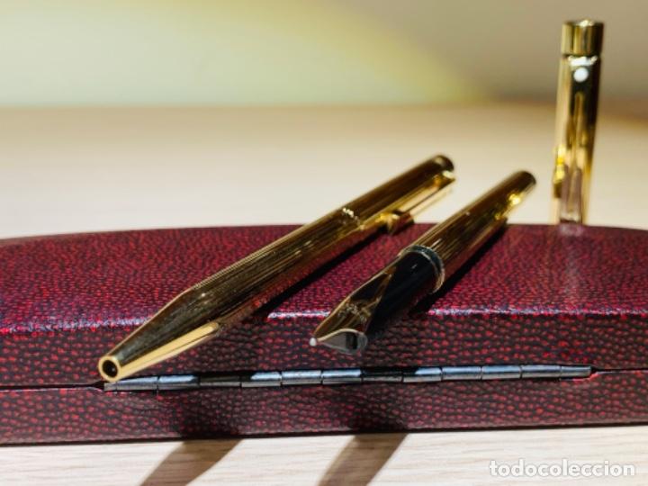 Estilográficas antiguas, bolígrafos y plumas: Set SHEAFFER TARGA 1005s 23k Gold Plated. Fountain Pen & BallPoint. Deluxe box. Early '80s. - Foto 10 - 182051680