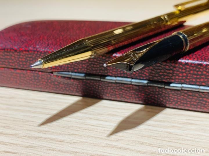 Estilográficas antiguas, bolígrafos y plumas: Set SHEAFFER TARGA 1005s 23k Gold Plated. Fountain Pen & BallPoint. Deluxe box. Early '80s. - Foto 11 - 182051680