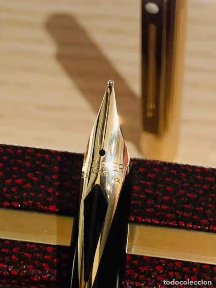 Estilográficas antiguas, bolígrafos y plumas: Set SHEAFFER TARGA 1005s 23k Gold Plated. Fountain Pen & BallPoint. Deluxe box. Early '80s. - Foto 12 - 182051680