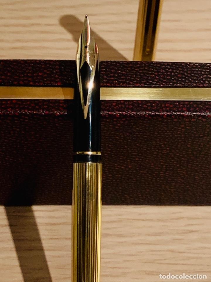 Estilográficas antiguas, bolígrafos y plumas: Set SHEAFFER TARGA 1005s 23k Gold Plated. Fountain Pen & BallPoint. Deluxe box. Early '80s. - Foto 14 - 182051680
