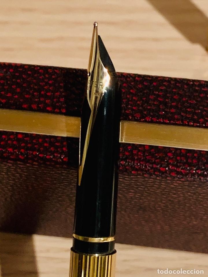 Estilográficas antiguas, bolígrafos y plumas: Set SHEAFFER TARGA 1005s 23k Gold Plated. Fountain Pen & BallPoint. Deluxe box. Early '80s. - Foto 15 - 182051680
