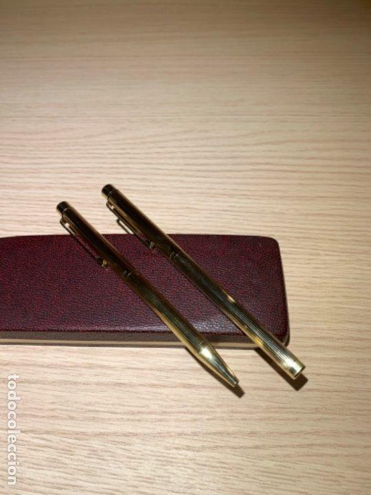 Estilográficas antiguas, bolígrafos y plumas: Set SHEAFFER TARGA 1005s 23k Gold Plated. Fountain Pen & BallPoint. Deluxe box. Early '80s. - Foto 24 - 182051680
