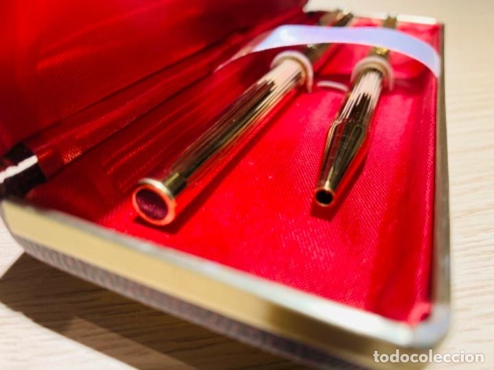 Estilográficas antiguas, bolígrafos y plumas: Set SHEAFFER TARGA 1005s 23k Gold Plated. Fountain Pen & BallPoint. Deluxe box. Early '80s. - Foto 27 - 182051680