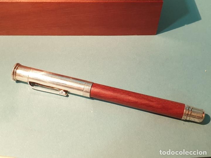 Estilográficas antiguas, bolígrafos y plumas: Set escritorio - LABAN - Madera y plata - Caja: Pluma + Bolígrafo + Tintero cristal - Foto 2 - 182293343