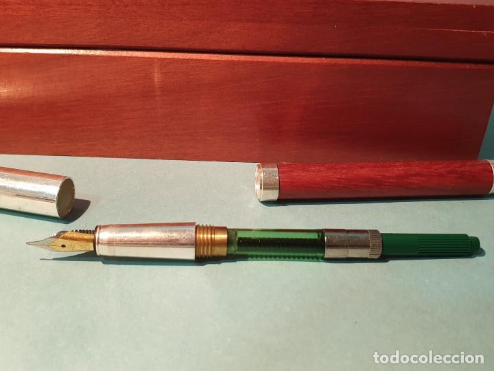 Estilográficas antiguas, bolígrafos y plumas: Set escritorio - LABAN - Madera y plata - Caja: Pluma + Bolígrafo + Tintero cristal - Foto 6 - 182293343