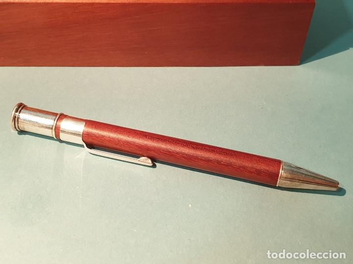 Estilográficas antiguas, bolígrafos y plumas: Set escritorio - LABAN - Madera y plata - Caja: Pluma + Bolígrafo + Tintero cristal - Foto 7 - 182293343