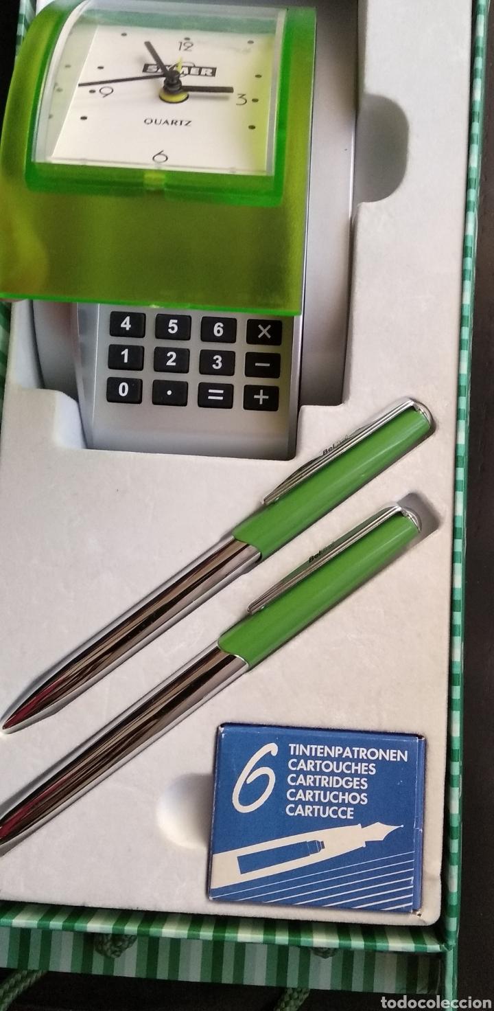 Estilográficas antiguas, bolígrafos y plumas: Lote de pluma,, bolígrafo marca BELBOL,con caja de 6 cartuchos de tinta,,reloj,,,,calculadora (no fu - Foto 5 - 183301253