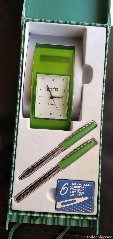 Estilográficas antiguas, bolígrafos y plumas: Lote de pluma,, bolígrafo marca BELBOL,con caja de 6 cartuchos de tinta,,reloj,,,,calculadora (no fu - Foto 7 - 183301253
