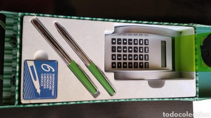Estilográficas antiguas, bolígrafos y plumas: Lote de pluma,, bolígrafo marca BELBOL,con caja de 6 cartuchos de tinta,,reloj,,,,calculadora (no fu - Foto 8 - 183301253