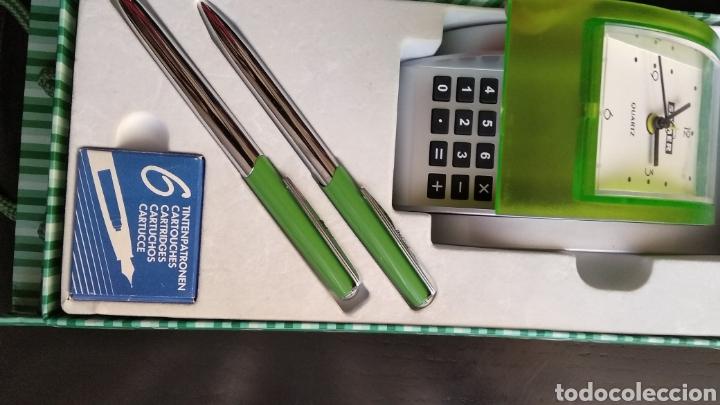 Estilográficas antiguas, bolígrafos y plumas: Lote de pluma,, bolígrafo marca BELBOL,con caja de 6 cartuchos de tinta,,reloj,,,,calculadora (no fu - Foto 9 - 183301253