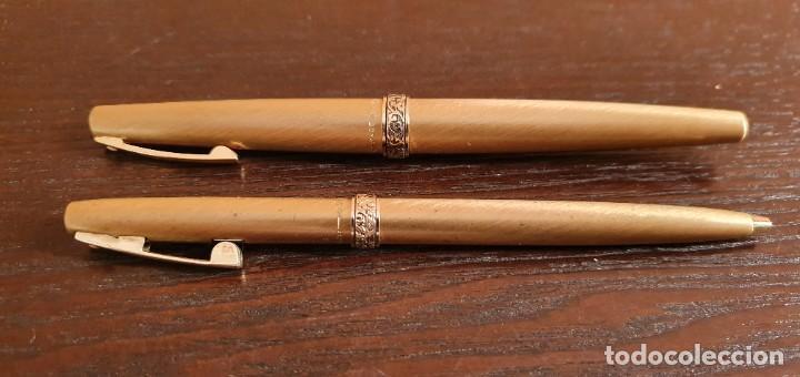 Estilográficas antiguas, bolígrafos y plumas: SHEAFFER IMPERIAL BOLIGRAFO Y PLUMA MADE IN USA CHAPADOS EN ORO - Foto 2 - 187229952