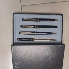Estilográficas antiguas, bolígrafos y plumas: CONJUNTO 4 PIEZAS: BOLÍGRAFO, PLUMA, PORTAMINAS Y ABRECARTAS NUEVO. Lote 187485440