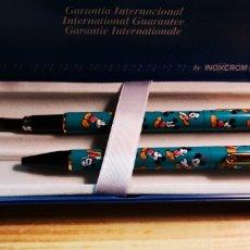 Estilográficas antiguas, bolígrafos y plumas: MICKEY UNLIMITED DE INOXCROM PLUMA + BOLÍGRAFO + ESTUCHE. Lote 188608442