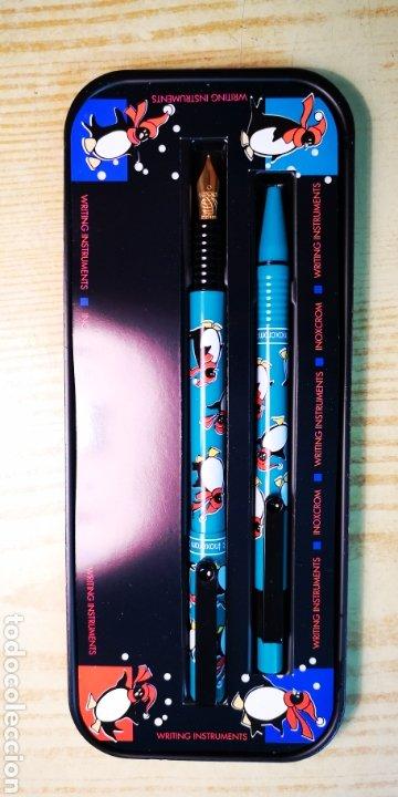 Estilográficas antiguas, bolígrafos y plumas: Inoxcrom conjunto de bolígrafo y pluma con caja original - Foto 2 - 189519675