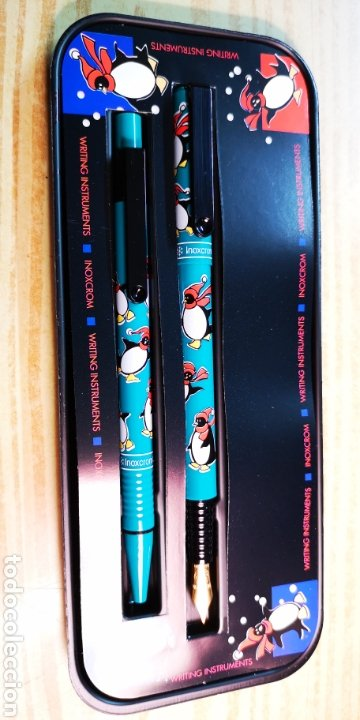 Estilográficas antiguas, bolígrafos y plumas: Inoxcrom conjunto de bolígrafo y pluma con caja original - Foto 3 - 189519675
