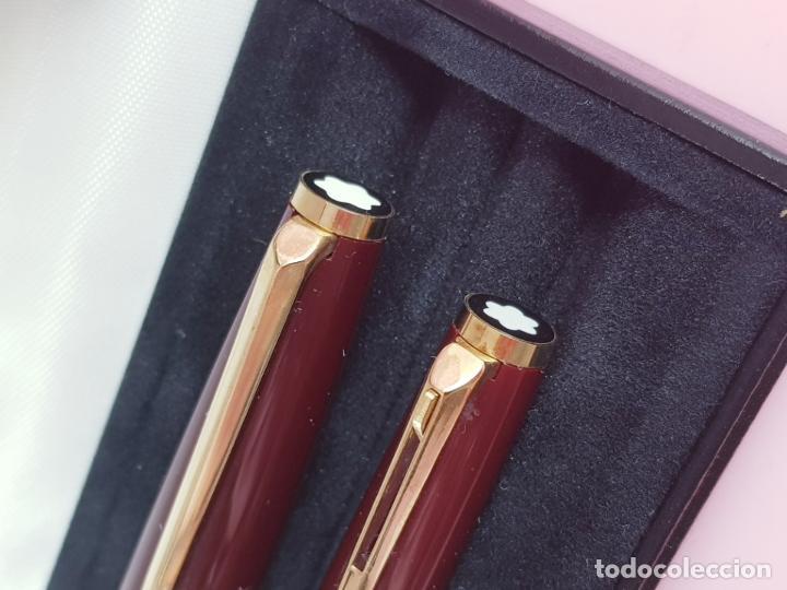 Estilográficas antiguas, bolígrafos y plumas: 10190/juego-monblanc 380+320(casan)-germany-pluma+bolígrafo-impolutos-caja piel+cartón-etiquetas-pap - Foto 7 - 189561402