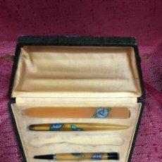 Estilográficas antiguas, bolígrafos y plumas: PLUMILLA,PORTAMINAS Y ABRECARTAS EN ASTA PRINCIPIOS DEL XX. Lote 190612240