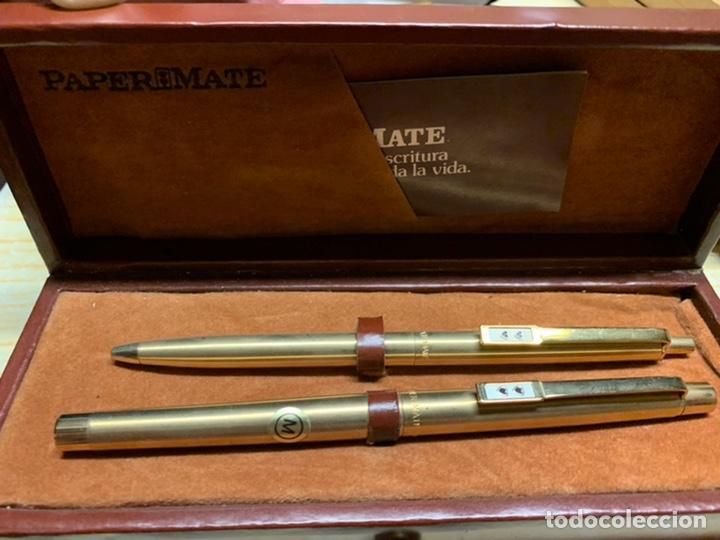 Estilográficas antiguas, bolígrafos y plumas: Conjunto boligrafo y pluma papermate - Foto 2 - 194329916
