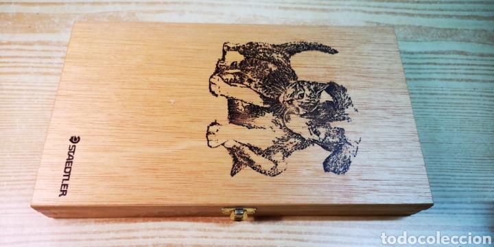 Estilográficas antiguas, bolígrafos y plumas: Estuche plumier de madera Staedtler a estrenar - Foto 2 - 195054575