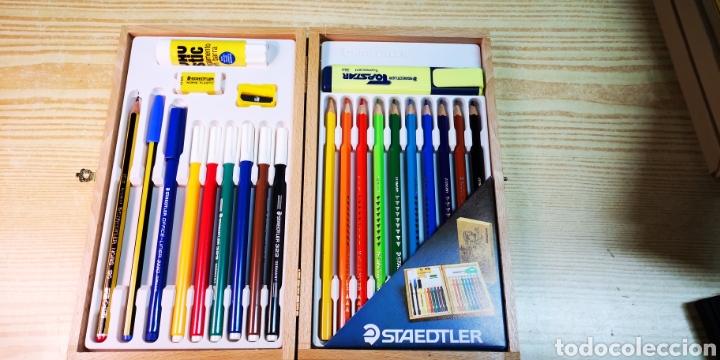 Estilográficas antiguas, bolígrafos y plumas: Estuche plumier de madera Staedtler a estrenar - Foto 4 - 195054820