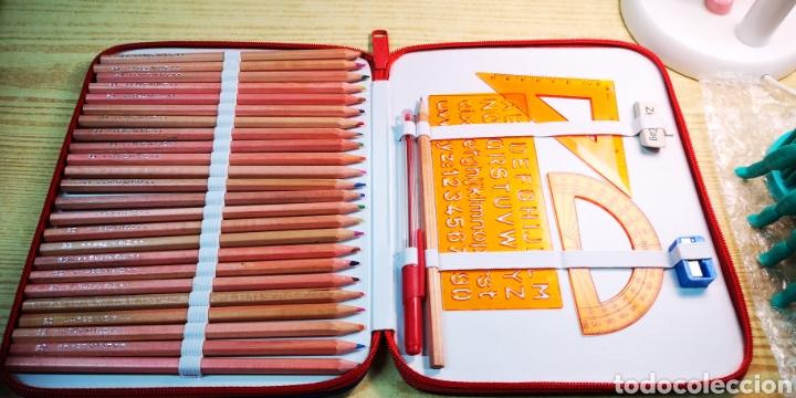 Estilográficas antiguas, bolígrafos y plumas: Estuche plumier Perona a estrenar con 24 lapices de colores + complementos - Foto 3 - 195223608