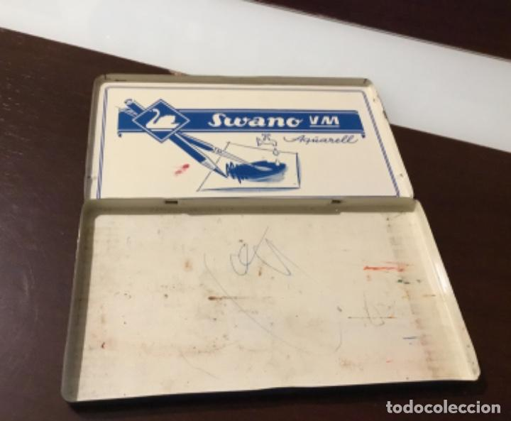Estilográficas antiguas, bolígrafos y plumas: Antigua caja acuarela swano pelikan - Foto 2 - 195328608