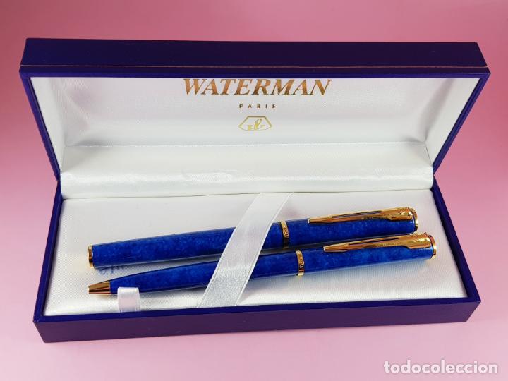 Estilográficas antiguas, bolígrafos y plumas: 10283/juego-waterman apostrophe-pluma e.+bolígrafo-JASPEADOS AZULES-PUBLICIDAD:ASEPEYO-NUEVO-caja-Pa - Foto 11 - 197373772