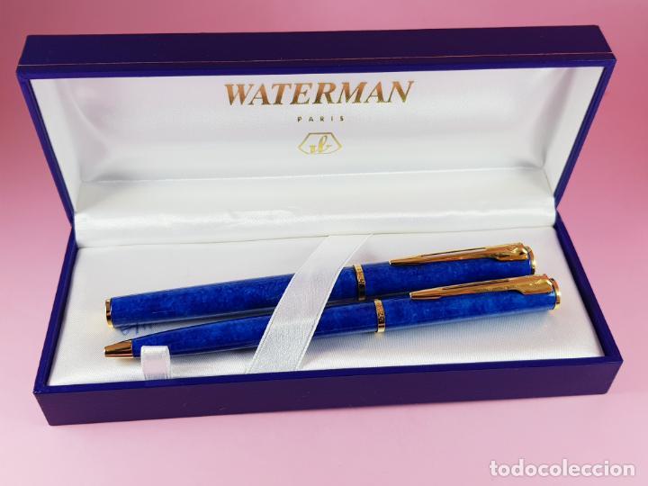 Estilográficas antiguas, bolígrafos y plumas: 10283/juego-waterman apostrophe-pluma e.+bolígrafo-JASPEADOS AZULES-PUBLICIDAD:ASEPEYO-NUEVO-caja-Pa - Foto 13 - 197373772