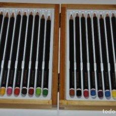 Estilográficas antiguas, bolígrafos y plumas: CAJA DE MADERA ANTIGUA STAEDTLER 18 LAPICES DE COLORES. Lote 198682617