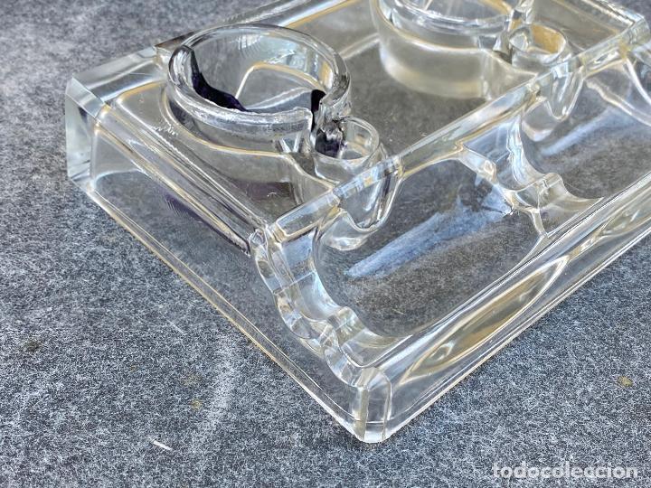 Estilográficas antiguas, bolígrafos y plumas: Tintero Doble de Cristal - Escribanía Marca J.B - Reposa Plumas - Años 50 - Foto 8 - 200046607
