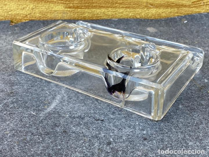 Estilográficas antiguas, bolígrafos y plumas: Tintero Doble de Cristal - Escribanía Marca J.B - Reposa Plumas - Años 50 - Foto 10 - 200046607