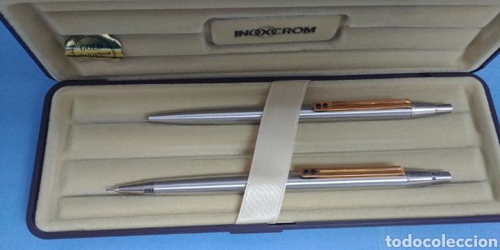 Estilográficas antiguas, bolígrafos y plumas: Estuche nuevo de bolígrafo y portaminas Inoxcrom Gold electroplated 24 kts - Foto 2 - 200280752