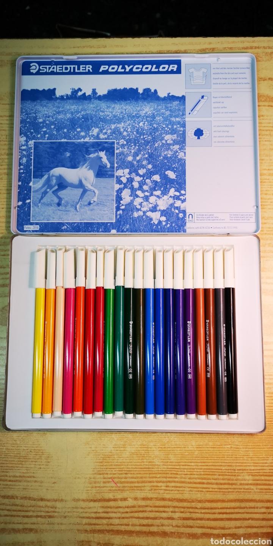Estilográficas antiguas, bolígrafos y plumas: Staedtler 20 rotuladores con caja de metal - Foto 2 - 205902217