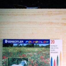 Estilográficas antiguas, bolígrafos y plumas: STAEDTLER 20 ROTULADORES CON CAJA DE METAL. Lote 205902217