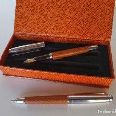 Estilográficas antiguas, bolígrafos y plumas: BOLÍGRAFO Y PLUMA CL IRIDIUM, CUERPO EN PIEL. Lote 211573622