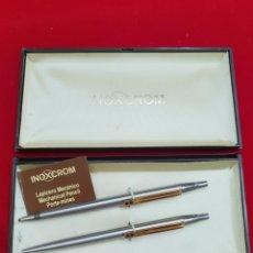 Estilográficas antiguas, bolígrafos y plumas: JUEGO DE BOLI Y PORTAMINAS . INOXCROM. Lote 215266923