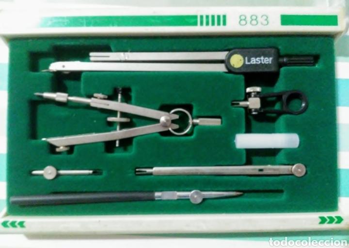 Estilográficas antiguas, bolígrafos y plumas: juego de compás y tiralineas Laster 883 marca Laster - Foto 2 - 215966191