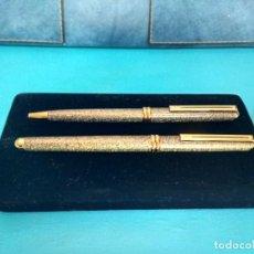 Estilográficas antiguas, bolígrafos y plumas: JUEGO DE PLUMA Y BOLÍGRAFO INOXCROM MONTECARLO, ACABADO JASPEADO. Lote 217486392