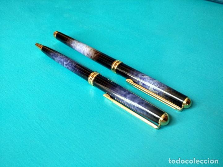 Estilográficas antiguas, bolígrafos y plumas: JUEGO DE PLUMA Y BOLÍGRAFO INOXCROM MONTECARLO, ACABADO AZUL HUMO - Foto 9 - 218490505