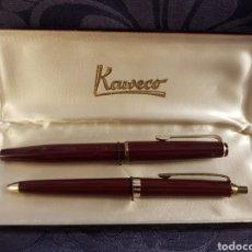 Estilográficas antiguas, bolígrafos y plumas: ESTUCHE BOLÍGRAFO Y PLUMA KAWECO V91. Lote 222714810