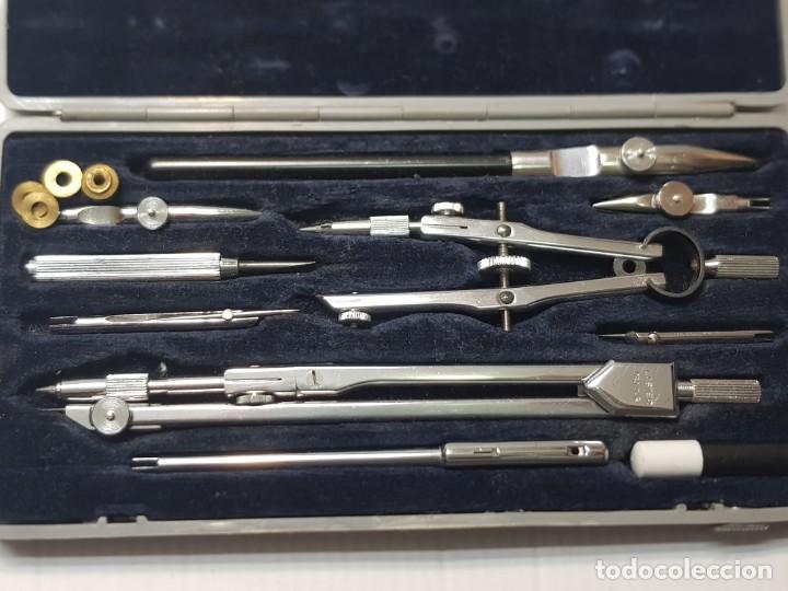Estilográficas antiguas, bolígrafos y plumas: Juego de Compas Laster profesional Cromo Duro en caja original poco uso - Foto 3 - 231038135